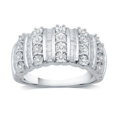 Womens 1/2 CT. T.W. Genuine White Diamond 14K Gold Over Silver Band