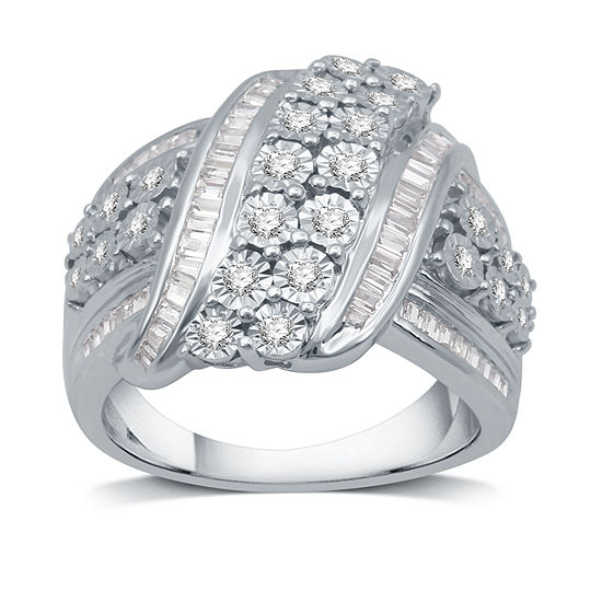 Womens 1 CT. T.W. Genuine Diamond Cocktail Ring