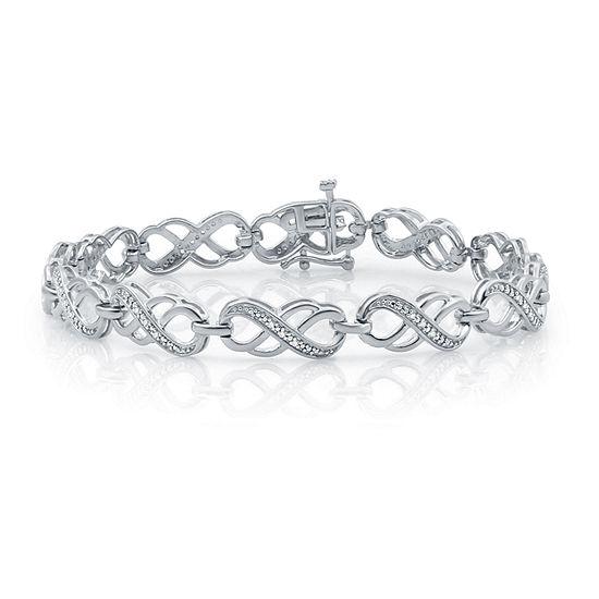 1 10 Ct Tw Genuine White Diamond Sterling Silver Heart Tennis Bracelet