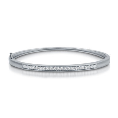 Womens 1/10 CT. T.W. White Diamond Sterling Silver Bangle Bracelet