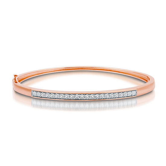 1/10 CT. T.W. Genuine White Diamond 14K Rose Gold Over Silver Bangle Bracelet