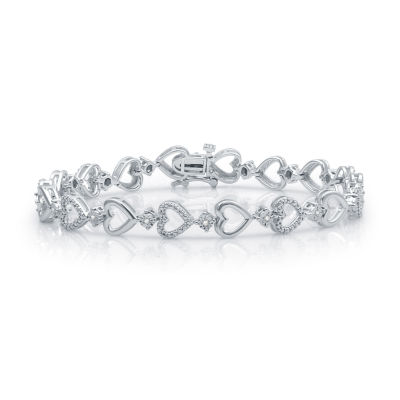 Sterling Silver 7.5 Inch Solid Casted Heart Link Bracelet
