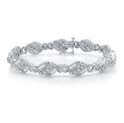 1 CT. T.W. Genuine White Diamond Sterling Silver Heart Tennis Bracelet