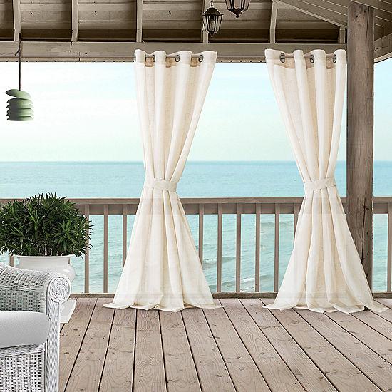 Elrene Bali Sheer Indoor Outdoor Window Panels Grommet Top Curtain
