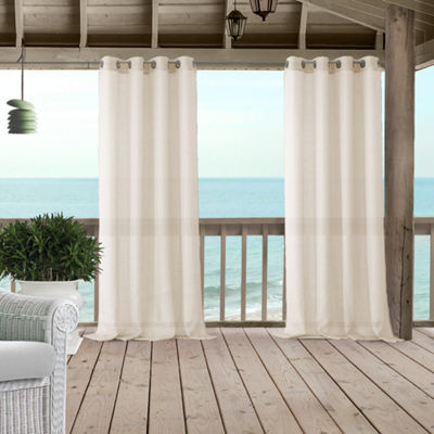Elrene Bali Sheer Indoor/Outdoor Window Panels Grommet-Top Curtain Panel