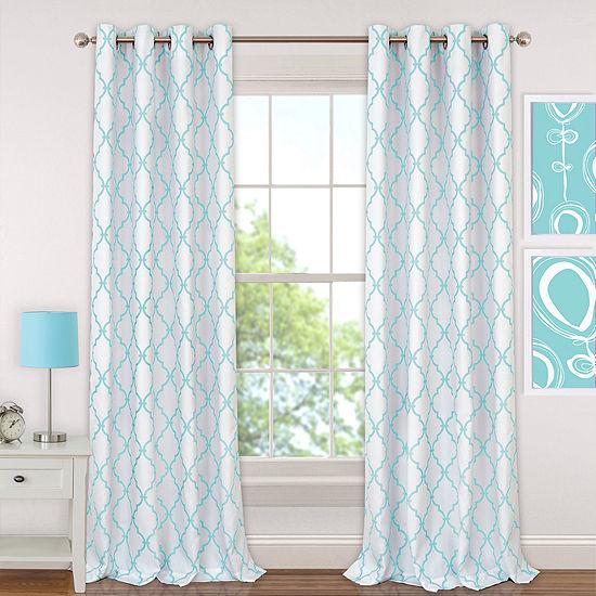 Elrene Candice Trellis Blackout Grommet-Top Single Curtain Panel
