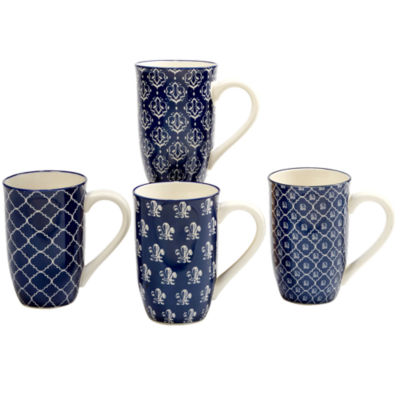 Certified International Blue Indigo 4-pc. Coffee Mug