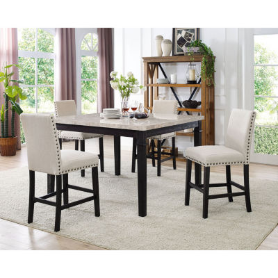 Azul 5-pc. Marble Dining Set with 4 Fabric Chairs