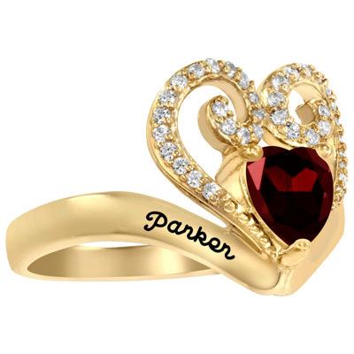 Artcarved Personalized Womens 14.5mm Multi Color Stone 10K Gold Over Silver Heart Cocktail Ring