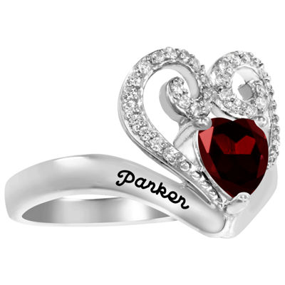 Artcarved Personalized Womens 14.5mm Multi Color Stone 10K White Gold Heart Cocktail Ring