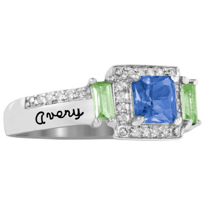 Artcarved Personalized Womens Multi Color Stone 10K White Gold Square Cocktail Ring