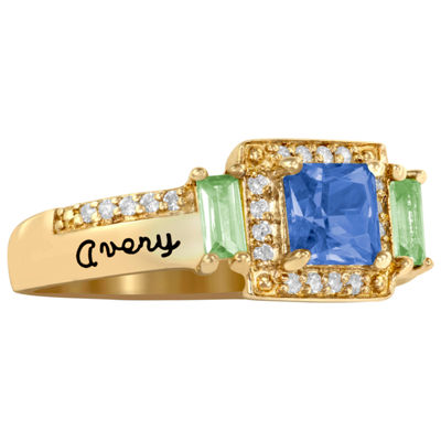 Artcarved Personalized Womens Multi Color Stone 10K Gold Square Cocktail Ring