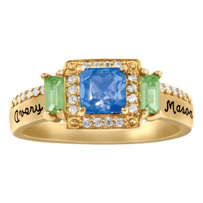 Artcarved Personalized Womens Genuine Multi Color Stone 10K Gold Cocktail Ring