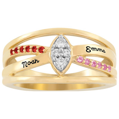 Artcarved Personalized Womens Multi Color Stone 10K Gold Over Silver Cocktail Ring