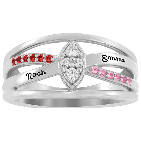 Artcarved Personalized Womens Multi Color Stone 10K White Gold Cocktail Ring