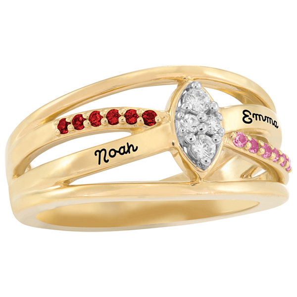 Artcarved Personalized Womens Simulated Multi Color Stone 10K Gold Cocktail Ring