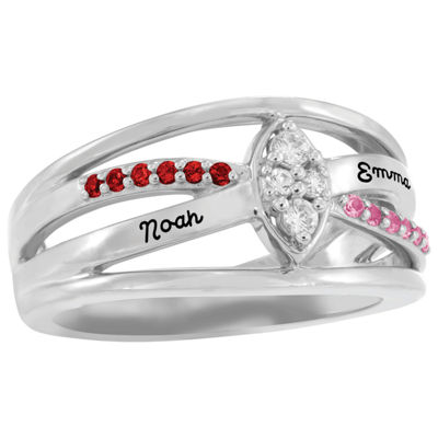 Artcarved Personalized Womens Multi Color Stone 14K White Gold Cocktail Ring