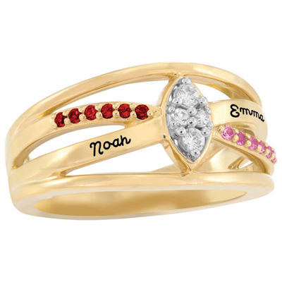 Artcarved Personalized Womens Genuine Multi Color Stone 14K Gold Cocktail Ring