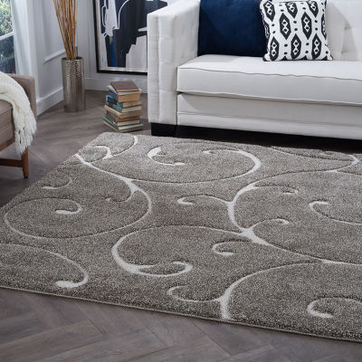 Tayse Scrollwork Transitional Scroll Shag Round Rug