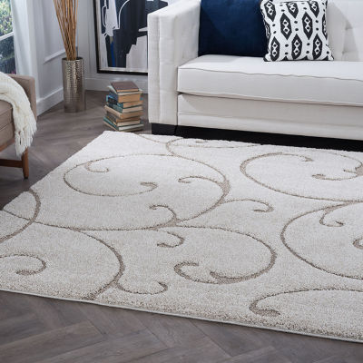 Tayse Scrollwork Transitional Scroll Shag Rug