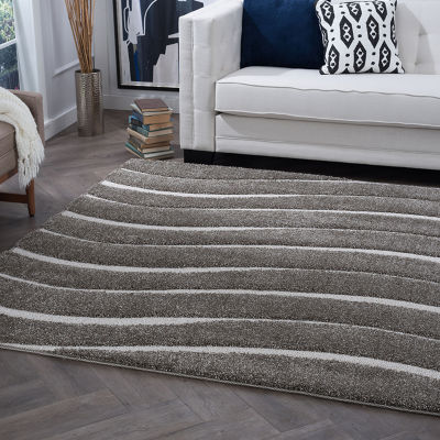 Tayse Waveland Contemporary Stripe Shag Rectangular Rug