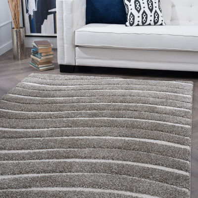 Tayse Waveland Contemporary Stripe Shag Square Area Rug