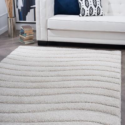Tayse Waveland Contemporary Stripe Shag Rug