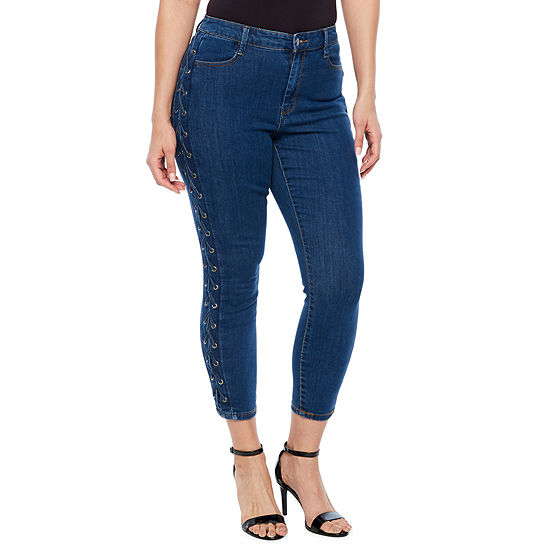 Bold Elements Side Lace Up Crop Jeans