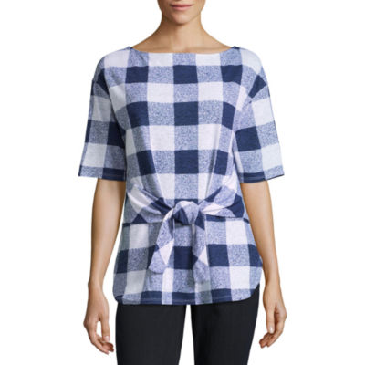 Liz Claiborne Short Sleeve Tie Front Gingham T-Shirt-Womens
