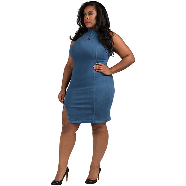 Poetic Justice Tinder Sleeveless Bodycon Dress - Plus