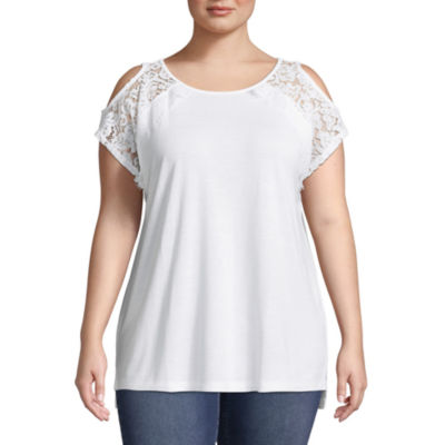 St. John's Bay® Short Sleeve Lace Cold Shoulder Tee - Plus