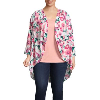 St. John's Bay® 3/4 Sleeve Printed Cocoon Kimono - Plus