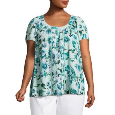 St. John's Bay® Short Sleeve Pintuck Scoop Neck Blouse - Plus