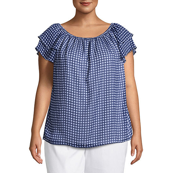 St. John's Bay® Short Sleeve Convertible Flutter Sleeve Blouse - Plus