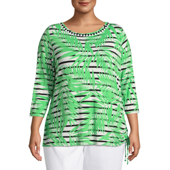 Lark Lane Island Hopping Embellished Palm Stripe Top- Plus
