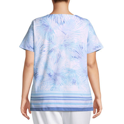 Lark Lane Must Haves Embellished Watercolor Palm Top- Plus