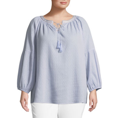 Lark Lane Play The Blues Embroidered Crinkle Top- Plus