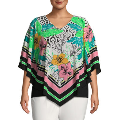 Lark Lane Island Hopping Hibiscus Butterfly Top- Plus