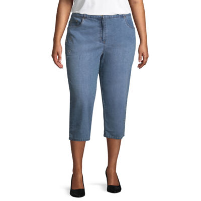 Lark Lane Play The Blues Embellished Stretch Denim Capri- Plus