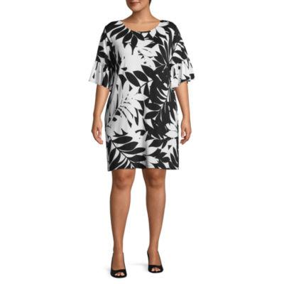 Lark Lane Island Hopping Swaying Palm Ruffle Sleeve Dress- Plus