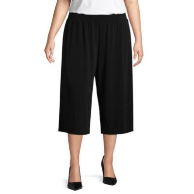 Liz Claiborne Wrinkle Resistant Pull On Cropped Pant- Plus