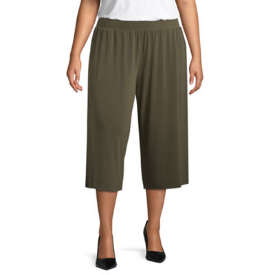 Liz Claiborne Wrinkle Resistant Pull On Cropped Pant- Plus