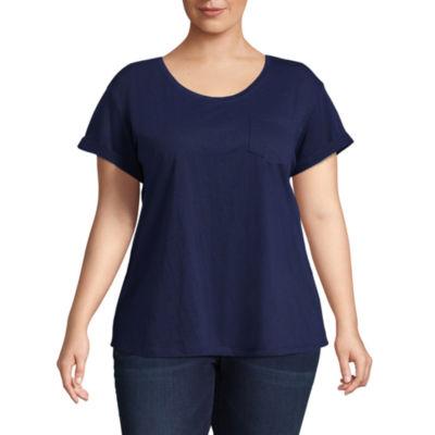 a.n.a Short Sleeve Scoop Neck T-Shirt - Plus