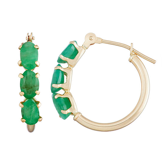 Genuine Green Emerald 10K Gold 18.1mm Oval Hoop Earrings
