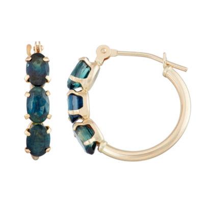 Blue Sapphire 10K Gold 18.1mm Oval Hoop Earrings