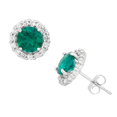 Green Emerald 10K Gold Round Stud Earrings