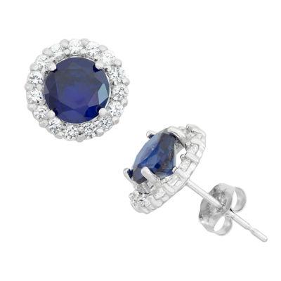Blue Sapphire 10K Gold Round Stud Earrings