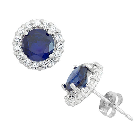 Lab Created Blue Sapphire 10K Gold Round Stud Earrings