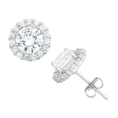 White Sapphire 10K Gold Round Stud Earrings