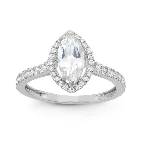 Womens Lab Created White Sapphire 10K Gold Diamond Halo Engagement Ring